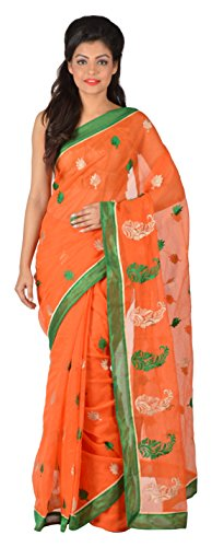 Gratitude Women's Viscose Saree (Orange)
