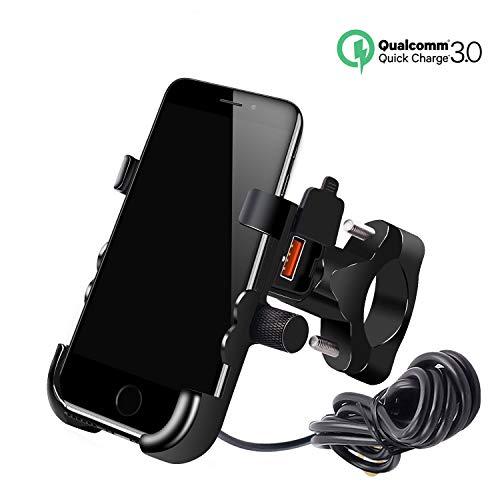 YGL Impermeabile Porta Telefono per Moto con Caricatore USB QC 3.0 Porta Telefono in Alluminio per iPhone 8/8P/X/XR/XS, Samsung S7/S8/S9/S9+, Huawei