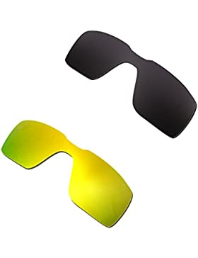 Hkuco Plus Mens Replacement Lenses For Oakley Probation Black/24K Gold Sunglasses