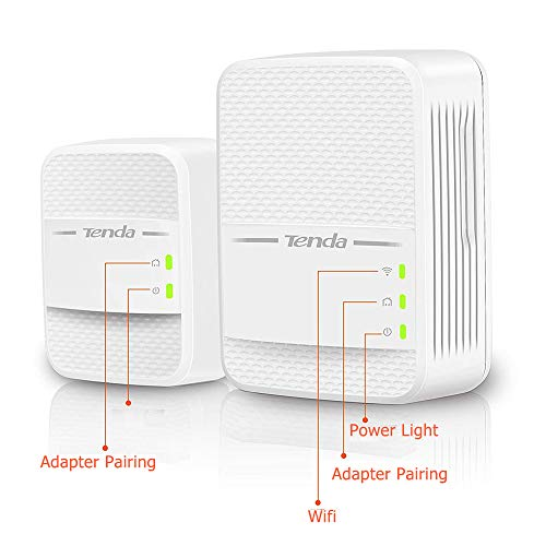 Tenda PH10 Kit Powerline WiFi, AV1000 Mbps su Powerline, 650Mbps Wifi Dual Band , 2 Porta Gigabit, Plug&Play, HomePlugAV2,La porta Gigabit garantisce una velocità ultraveloce