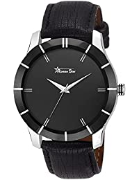Roman Star Men's N-1134 Black Coloured With Black Leather Strap Analog Quartz Watch