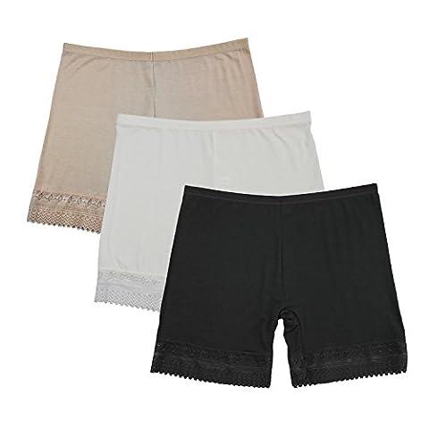 LSHARON Women's Modal Ultra Thin Stretch Short Leggings Pack of 3 (XL)