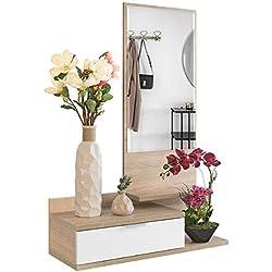 Recibidor Colgante - Mueble de Entrada con Cajón, Espejo y 3 Estantes de Estilo Nórdico y Moderno, Muy Resistente y Estable, de Color Blanco y Roble