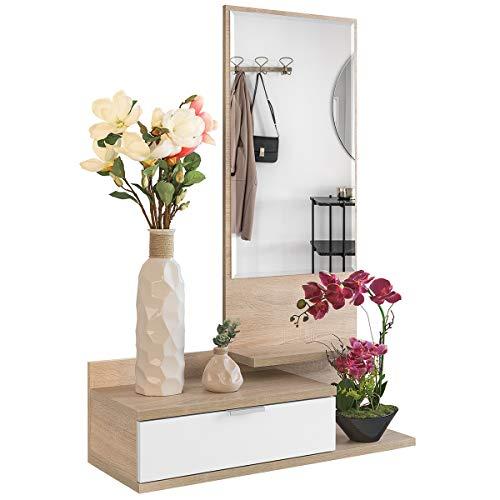 COMIFORT Recibidor Colgante - Mueble de Entrada con Cajón, Espejo y 3 Estantes de Estilo...