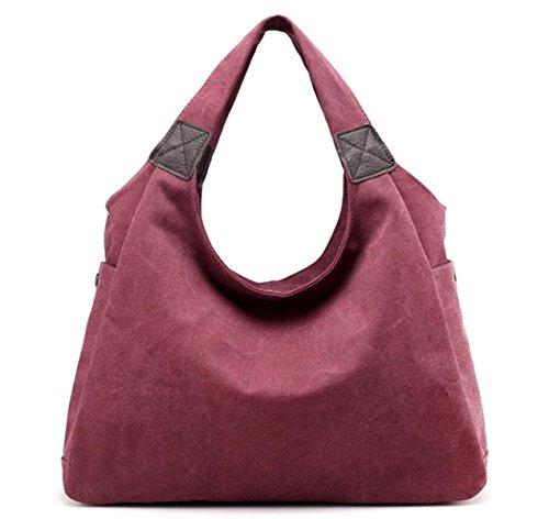 Frauen Segeltuchhandtasche Retro- Art Und Weise Schultertasche Lässig Einfach Große Kapazität Reisetasche Purple