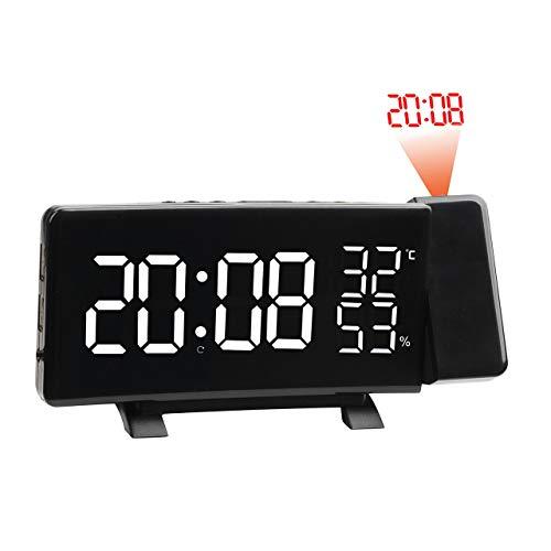 Preisvergleich Produktbild Multifunktionswecker LED Digitale Elektronische Projektionsuhr Mit Zeitprojektion mit UKW-Radiofunktion (weiß, )
