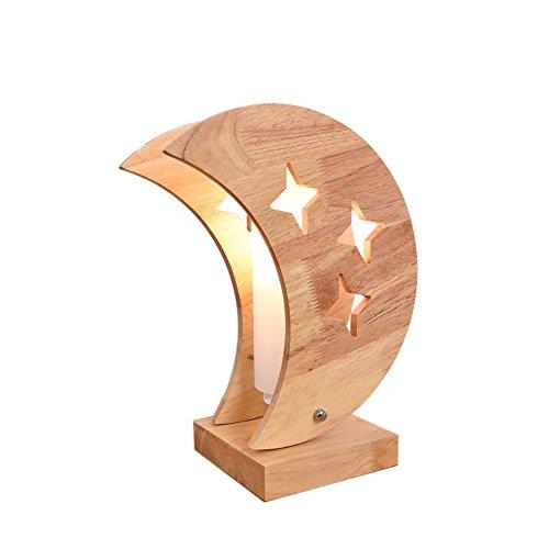 uus Tischlampe Massivholz Kinderzimmer Sterne Mond Warm LED Schlafzimmer Nachttischlampe E14 Glühbirne Basis 10 * 35 CM Warmes Licht (energiesparende A +) ( Farbe : Warm light10*35cm , größe : B )