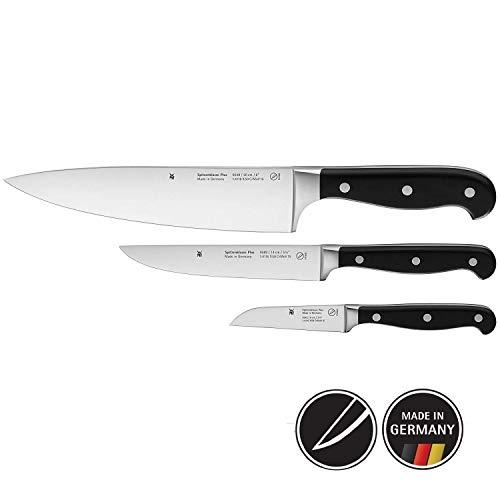 WMF Spitzenklasse Plus Messerset 3-teilig, 3 Messer Küchenmesser, geschmiedet Performance Cut Kochmesser, Zubereitungsmesser, Gemüsemesser
