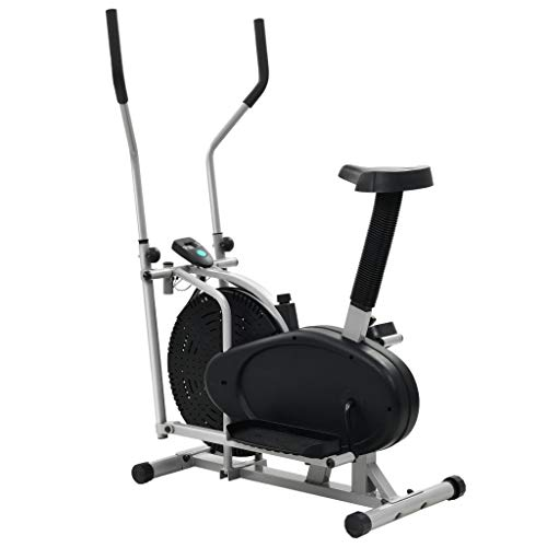 Wakects Crosstrainer Elliptical Exercise Bike, Elliptical Bicycle Orbitrac Exercise Gym Fitness Room Exercise Bike, with Resistance Strap 50 cm, Bike Stepper Cross Trainer with LCD Screen