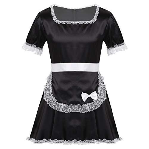 inhzoy Herren Sissy Kleider Dienstmädchen Kostüm Outfit Männer Dessous-Crossdresser Nachtkleid Maid Kostüm Cosplay Satin Reizwäsche Schwarz_B XXL
