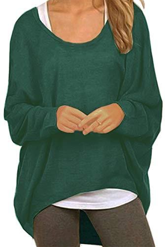 Meyison Damen Lose Asymmetrisch Sweatshirt Pullover Bluse Oberteile Oversized Tops T-Shirt Dunkel Grün XL