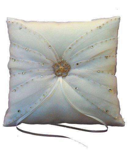 LadyMYP Copyright Cuscini per anello con grandi fiori e pietre brillanti: Avorio-Bianco - Avorio, 21cm X 21 cm,