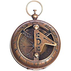Copper coloured solar dial compass in a pocket watch shape, steampunk vintage
