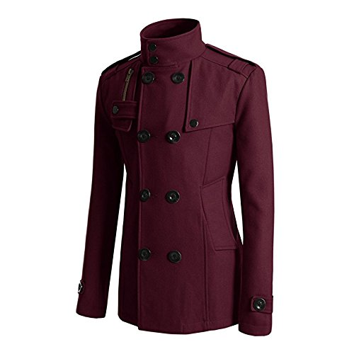 HDH Mens British Jackets Slim Fit Double Breasted Half Trench Coat