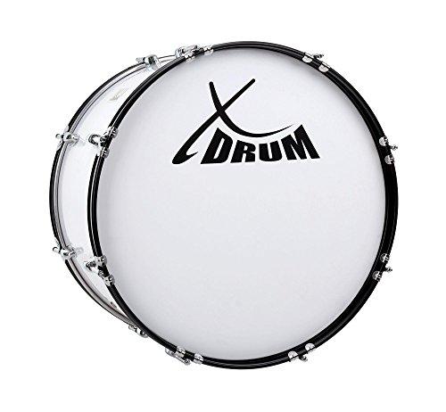 """XDrum MBD-220 Marsch Bass Trommel, Fußball Pauke 20"""" x 12"""" (6,5 kg, 4 Ösen, Spannschrauben, inkl. Paar Schlägel, Tragegurte, Stimmschlüssel) weiß"""