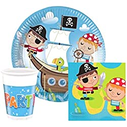 Vajilla para fiesta infantil pirata, 36 ud.