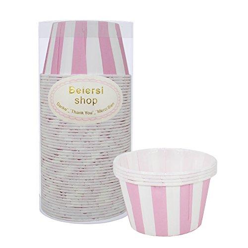 (Beiersi 50 Stück Papier Cupcake Dessert Muffinform Papierforrmchen Muffin Cases Papierkuchen Liner Tasse Cupcake Muffin Backen Streifen (Rosa))