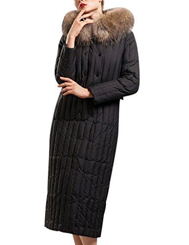 Youlee Femmes Hiver Svelte Longue Manteau Manteau De Duvet Avec Fourrure Capuche Noir