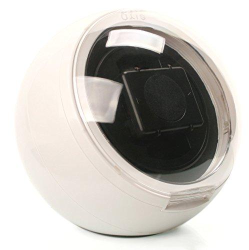 Caja giratoria Axis® watch winder esférica, de color blanco para 1 reloj  con luz LED azul
