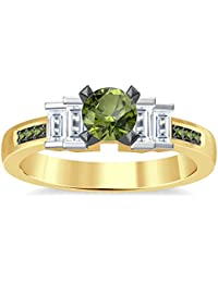 Silvernshine 1.35Ct Round & Buget Cut Peridot Sim Dimoands 14K Yellow Gold Plated Engagement Ring