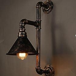5151BuyWorld vendimia Lámparas de pared industrial metal de la lámpara del tubo de agua del aplique de almacén accesorios ligeros E27 110V / 220V de cabecera de iluminación [Gold]