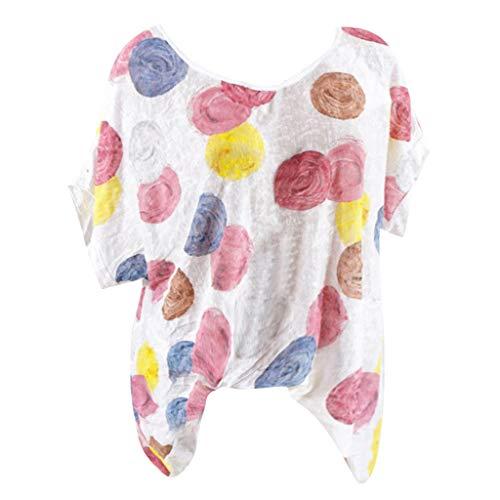 MRULIC Sommer Tunika Damen Neue Casual Shirt Rundhals Kurzarm Bedrucktes T-Shirt Top Bluse S-5XL(Weiß,EU-38/CN-M) -