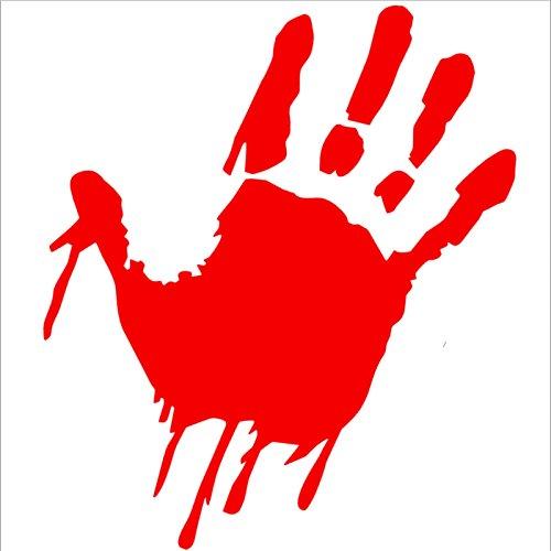 1 x Bloody Hand-Design, Rot, Blood Soaked Cut Vinyl Decal/Sticker-Zombie Killer, der Ermordung, Fenster, Bumper oder externe Bobywork Aufkleber Schild-Lustige Auto-Aufkleber Tolles Geschenk,