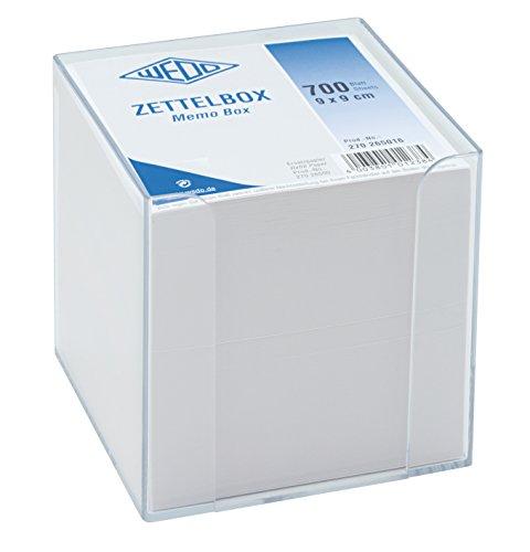 Wedo 270265016 Zettelbox Kunststoff (9,5 x 9,5 cm, gefüllt, circa 700 Blatt) transparent/weiß