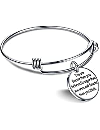 Yellow Chimes Inspirational Message Steel by Yellow Chimes Charm Bracelet for Women (Silver)(YCSSBR 220BRVR SL)