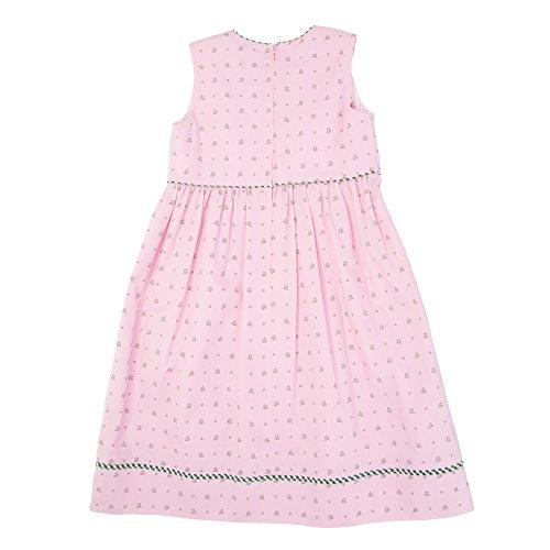 Moser® Mädchen Kinderdirndl rosa mit Blattmuster grün 3tlg. Trachtenkleid Dirndl, Bluse Schürze - Marken - Dirndl Set- ArtNr.: 436531/21 (Kleid Baumwolle Taufe Kittel)