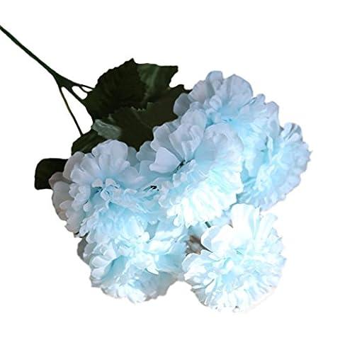 Longra 1Bouquet 6 Köpfe künstliche Daisy Lotus Kunstblume Blumenstrauß Blumen-Bouquet Bridal Blume Hochzeit Wohnaccessoires & Deko Party Dekoration Blumenstrauß (E)