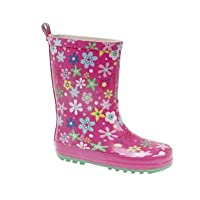 Stormwell Girls Pink Floral Print Short Wellington Boots/Wellies UK 6.0-1.0 Junior