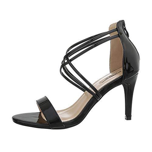 Ital-Design Damenschuhe Sandalen & Sandaletten High Heel Sandaletten Synthetik Schwarz Gr. 40
