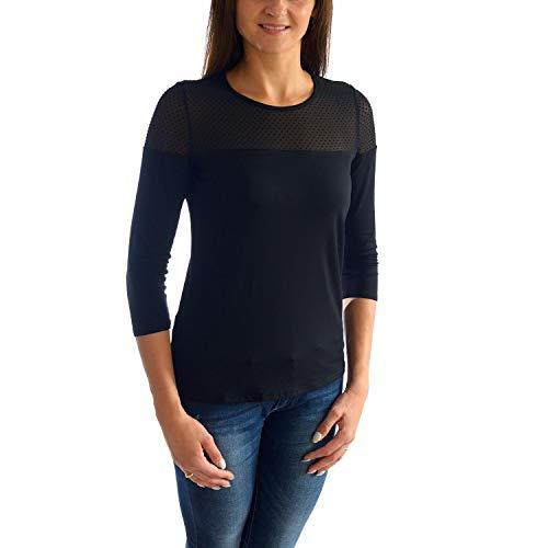 Alkato Damen 3/4 Arm Shirt mit floraler Spitze, Farbe: Schwarz Punkte, Größe: S