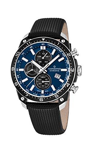 Candino Herren-Quarzuhr mit blauem Zifferblatt Chronograph-Anzeige und schwarzes Lederband C4520/2