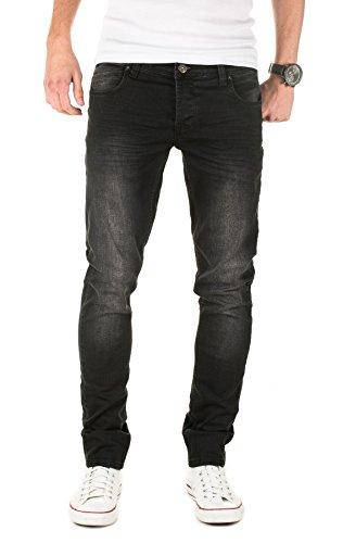 PITTMAN Herren Jeans 406 skinny fit (ggf. eine Nummer größer bestellen) Schwarz (Black 194008)