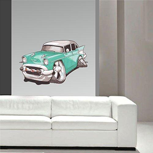Koolart Cartoon American Muscle Design für 1950er Grün Chevy Bel Luft Wandkunst Sticker Abziehbild Kinderzimmer groß 70cm breit
