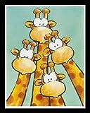 Bild mit Rahmen Jean Paul Courtsey - Funny Friends II - Holz schwarz, 40 x 50cm - Premiumqualität - Kinderwelten, Comic, Giraffen, Kinderzimmer, Kindergarten, Hort - MADE IN GERMANY - ART-GALERIE-SHOPde