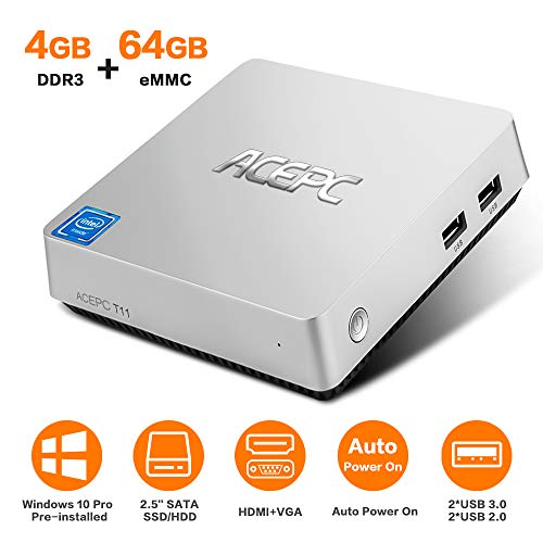ACEPC T11 Mini PC, Windows 10 Pro 4GB RAM/ 64GB eMMC Intel Atom x5-Z8350 Prozessor Desktop Computer mit VGA& HDMI Anschlüssen, Dual Band WLAN, BT 4.2, 4K HD, VESA Halterung, SATA für 2,5 Zoll HDD/SSD (Sd Karte 64 Gb Note 2)