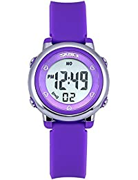 Montre Fille Zeiger Montre d'enfant Montre Quartz pour Fille Digital Retroeclairage Alarme Montre enfant fille Silicone Violet Montre GarconTime-teacher Montre Fille Sports Cadeau KW027
