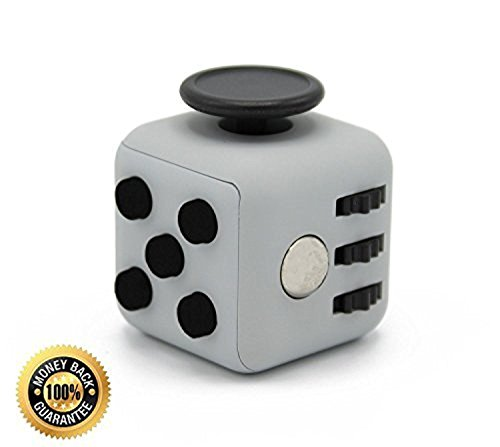 FIDGET CUBE | Anti-Stress Toy for Children and Adults for use at Work/Class/Home | Relieve Stress, Anxiety, Boredom and Improve Focus & Attention (Grey)