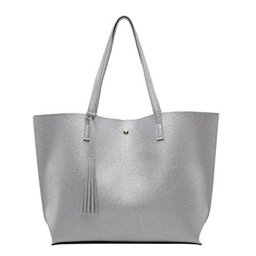 LINNUO Womens Handbags Top-Handle Shoulder Bags with Tassels Maternity PU Leather Tote Large Capacity Shopper Bag for Work (Silver, 36*10*30cm)