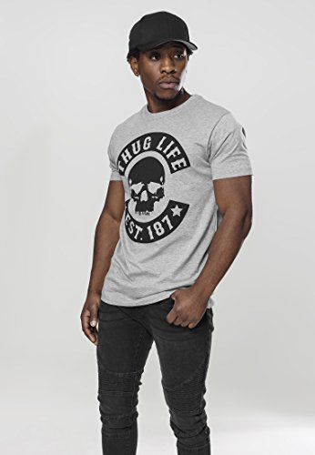 Mister Tee Herren Thug Life Skull T-Shirts Grey