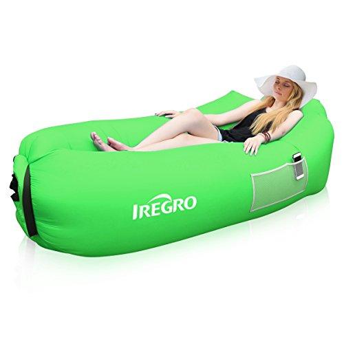 Aufblasbares Sofa IREGRO tragbarer Sitzsack mit integriertem Kissen und integriertem Seitentaschen,...