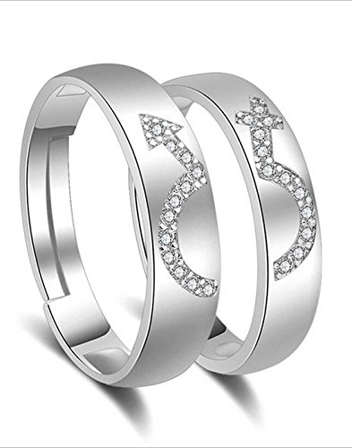 Karatcart Platinum Plated Elegant Couple Adjustable Band Ring