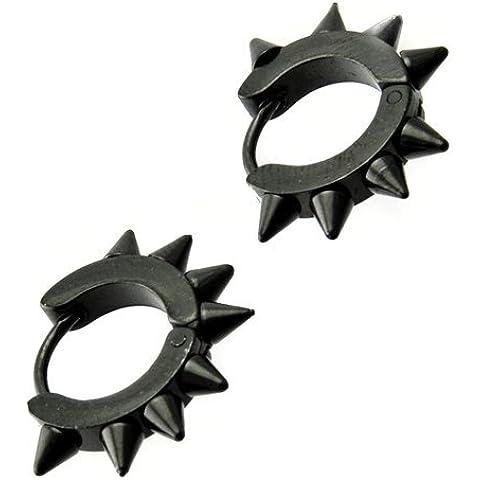 Cameleon-Shop-Orecchini anelli-Cerniera in acciaio inossidabile, con punte, colore: nero