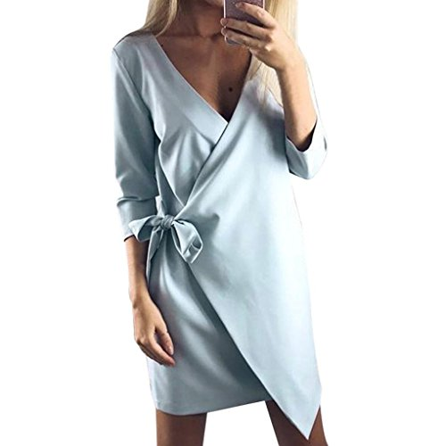 Longra Damen Asymmetrisch Einfarbig Business Kleid Etuikleid Bleistiftkleid Langarm Kleid Knielang Damen Herbst Winter Casual Party Mini Kleid Tunika mit Bandage (L, Blue) (Kapuzen-langarm-tunika)