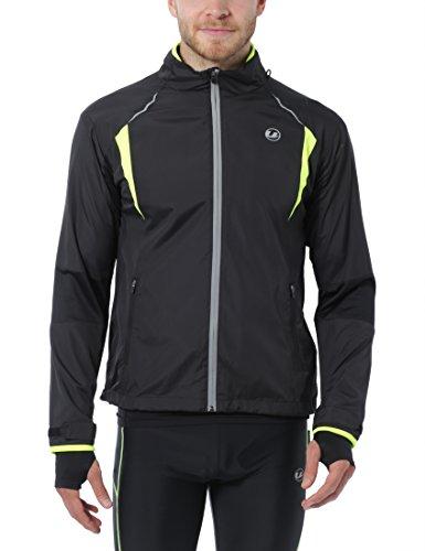 Ultrasport Herren Stretch Delight Running-Bikingjacke, Schwarz/Neon Gelb, XL, 40038