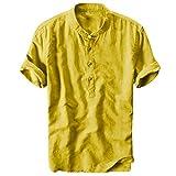 Celucke Oversize Leinenhemd Herren Kurzarm Grandad Ausschnitt, Männer Freizeithemd Henley Shirt Sommer Casual Hemden Leichte Atmungsaktives Bequem Leinen Sommerhemden (Gelb, M)