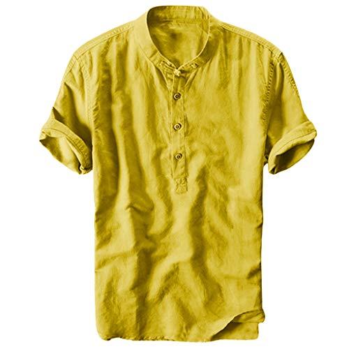 friendGG❤️Tops Hemden Outdoor Fun-T-Shirts Sport & Freizeit Herrenbekleidung Sportswear-Shirts&Hemden für Herren Sommer Herren cool und dünn atmungsaktiv Kragen hängen gefärbt Farbverlauf Baumwollhemd